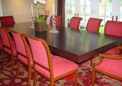 Rift sawn oak and lacquer base dining table