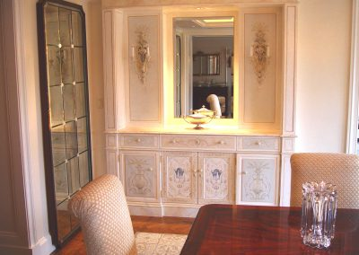 Dining room server with hand painted decoration