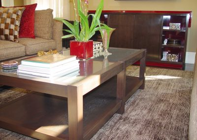 Oak coffee table & walnut and lacquer media cabinet