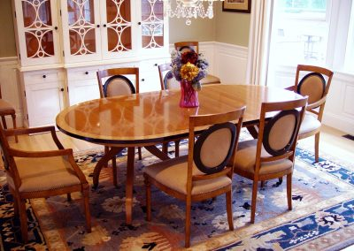 Walnut and satinwood dining table