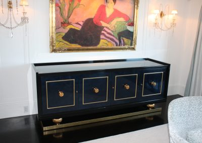 Lacquered server with gold trim