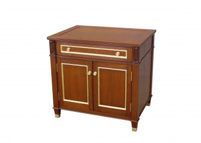Walnut side cabinet with gilded trim