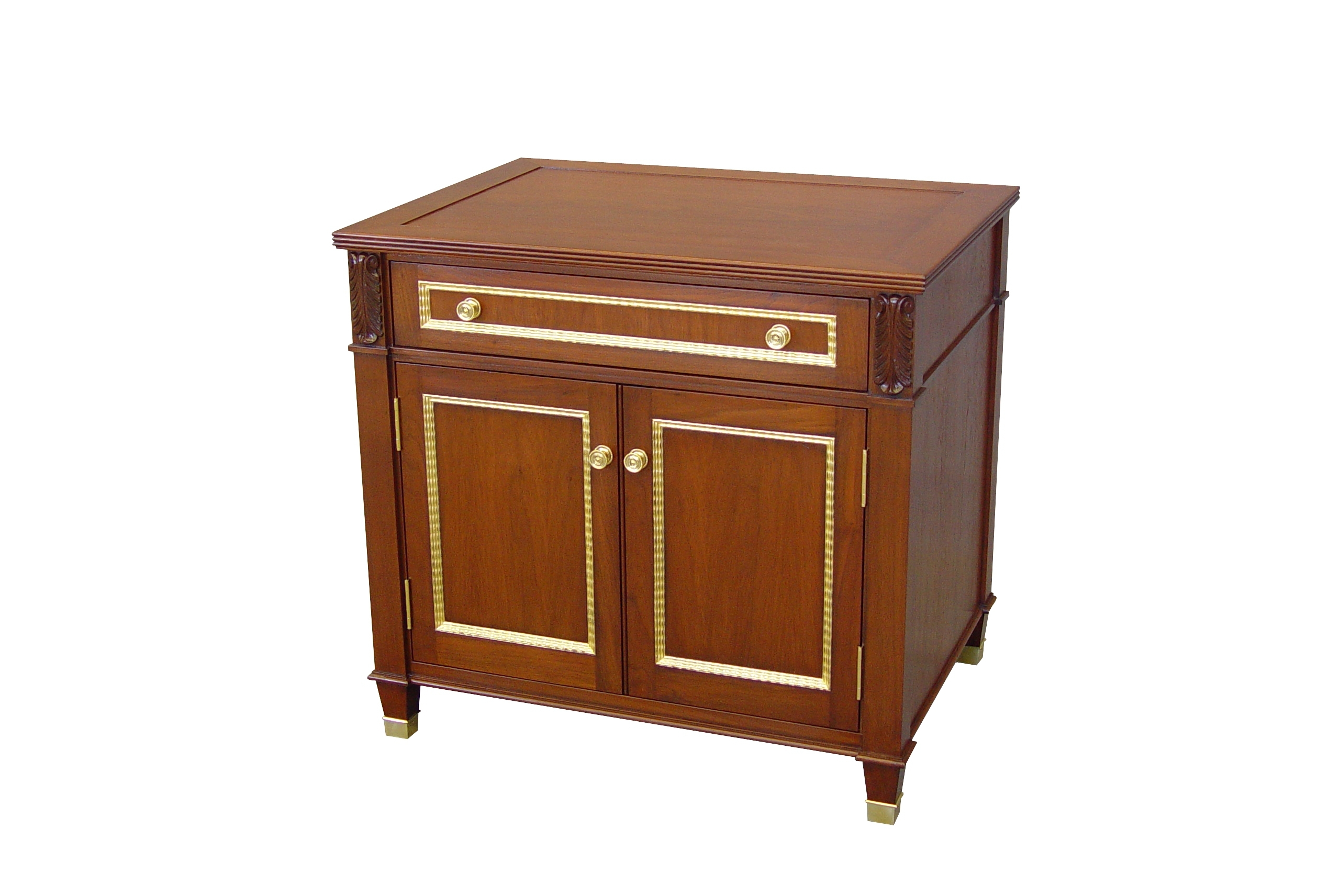 Walnut Side Cabinet With Gilded Trim