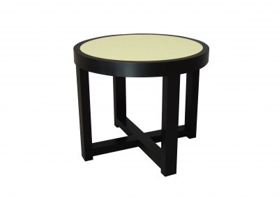Ebonized oak side table with french cracked linen top