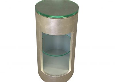 Silver leaf elliptical side table with glass top