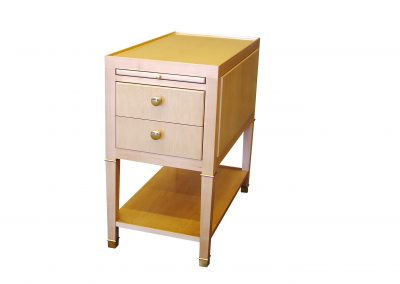 Maple side table with brass trim
