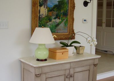 Reproduction foyer cabinet, painted and glazed