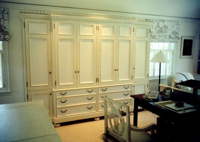 Painted and glazed master bedroom wardrobe