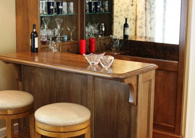 Oak family room bar