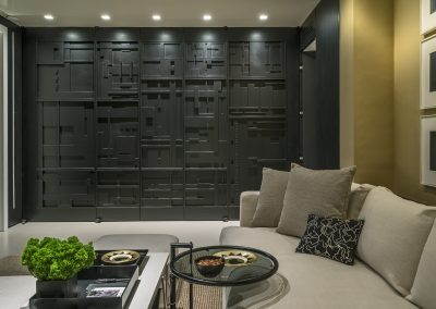 Intricate Layered Butler Pantry Doors, Matte Black Lacquer Finish