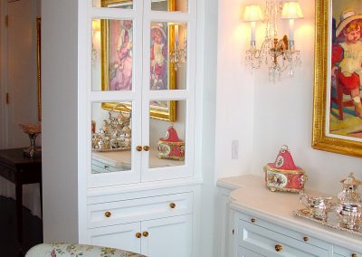 Painted dining room display cabinets and server
