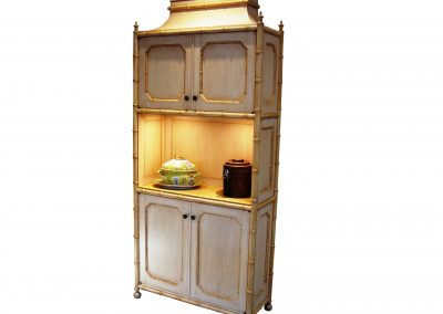 Faux bamboo bar cabinet, painted with glaze