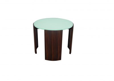 Macassar ebony center table with sandblasted glass top