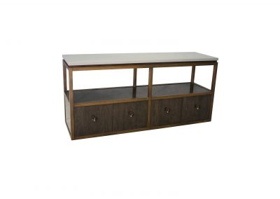 Maple media cabinet with steel frame and stone top