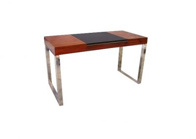 Rosewood writing desk with leather inset and polished stainless legs
