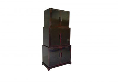Asian stacked cabinet, black lacquer