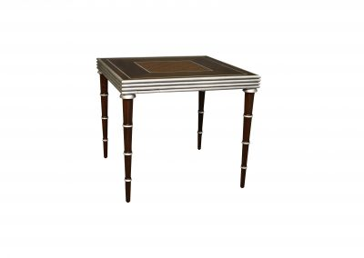 Walnut game table with silver leaf trim