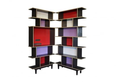 Euro ply bookcase with lacquer interiors