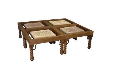 Walnut grouping tables, custom iron details with antique stone tablets