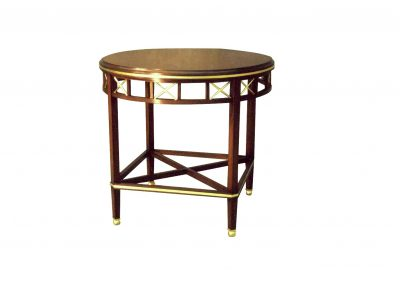 Mahogany side table with faux ivory detailing