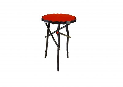 Twig side table with painted top