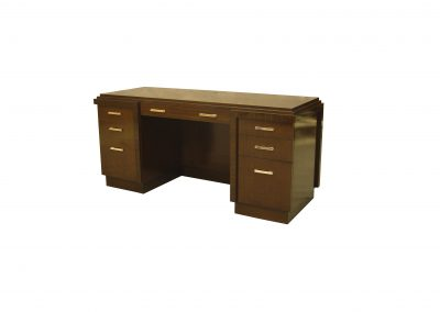 Ribbon mahogany pedestal desk