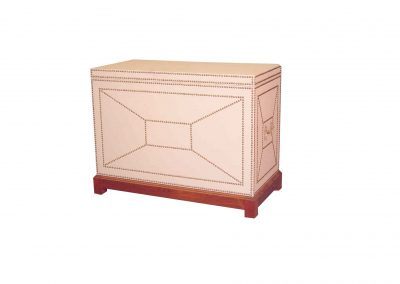 Leather television lift cabinet with decorative nail trim